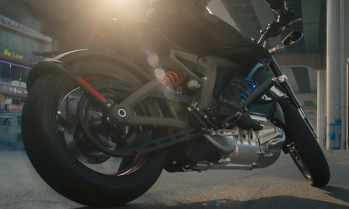 Scarlett Johansson with Harley Davidson LiveWire Motorcycle in Avengers: Age of Ultron