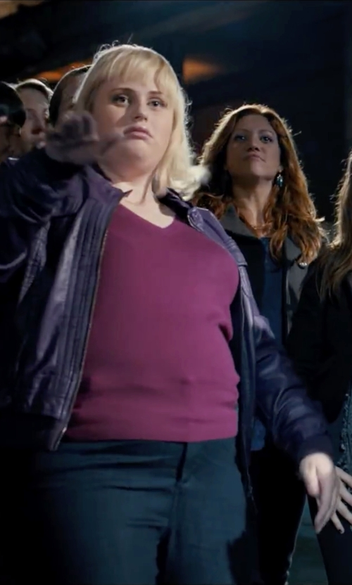 Rebel Wilson with Forever 21 Ruffled Faux Leather Jacket in Pitch Perfect