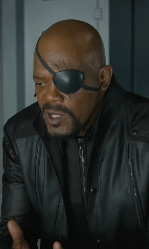Samuel L. Jackson with Alexandra Byrne (Costume Designer) Custom Made 'Nick Fury' Eye Patch in Marvel's The Avengers