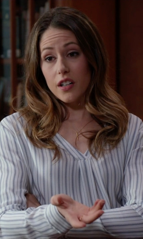 Amanda Crew with Protagonist Striped  V Neck Blouse in Silicon Valley
