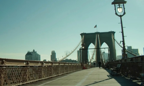 Unknown Actor with Brooklyn Bridge New York CIty, New York in Hands of Stone