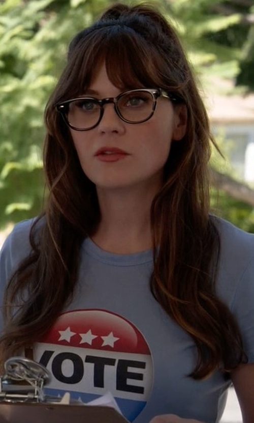 Zooey Deschanel with Sunshine T Shirts Vote New Girls T-Shirt in New Girl