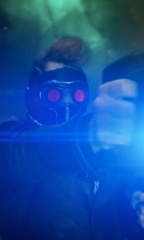 Chris Pratt with Chris Caldow (Concept Artist: Props) Custom Made Star Lord Blaster Gun in Guardians of the Galaxy Vol. 2