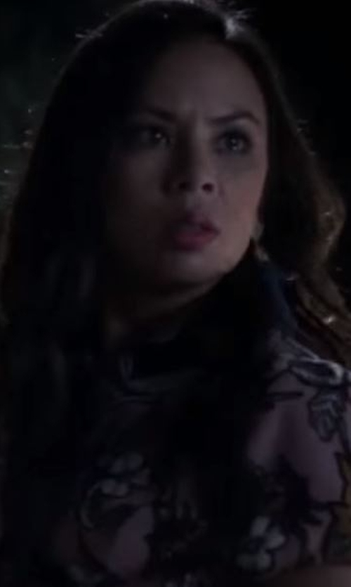 Janel Parrish with Topshop Floral Print Collar Playsuit in Pretty Little Liars