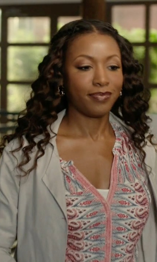 Gabrielle Dennis with Velvet by Graham & Spencer Printed Cotton Long Sleeve Shirt in Rosewood
