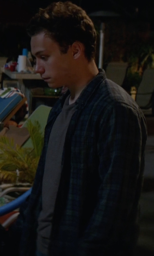 Finn Cole with Tavik Watts Plaid Long Sleeve Button-Front Shirt in Animal Kingdom