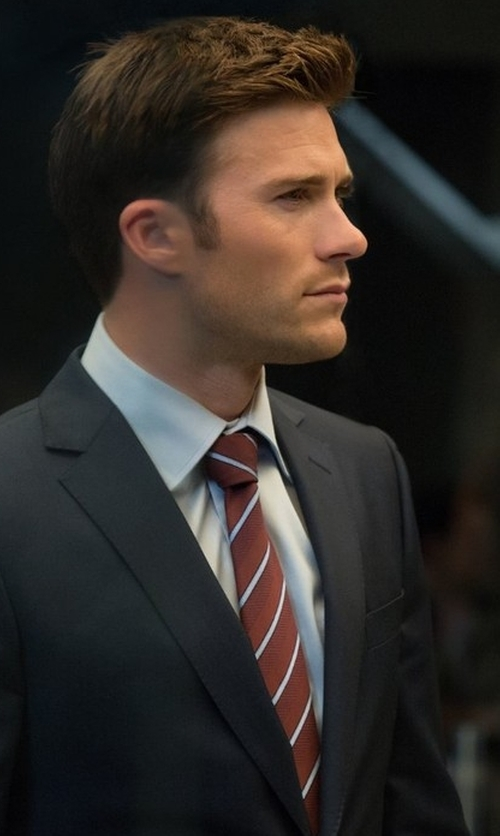 Scott Eastwood with Ermenegildo Zegna Denim-Striped Silk Tie in The Fate of the Furious