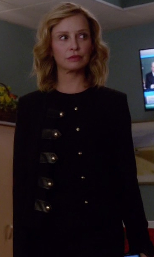 Calista Flockhart with Sandro Vinnie Leather Tab Jacket in Supergirl