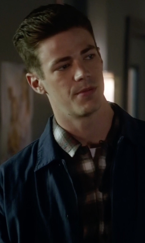 Grant Gustin with Vince Tech Chest-Pocket Utility Shirt Jacket in The Flash