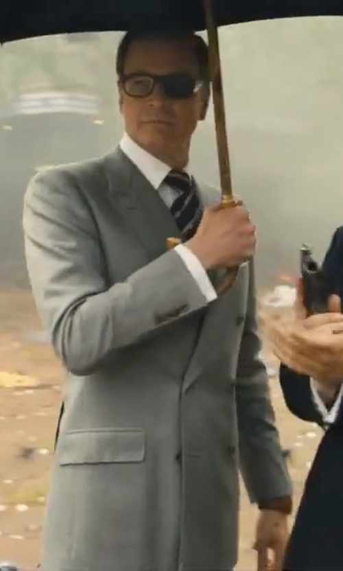 Colin Firth with Kingsman Harry's Light-Grey Double-Breasted Wool Suit Jacket in Kingsman: The Golden Circle
