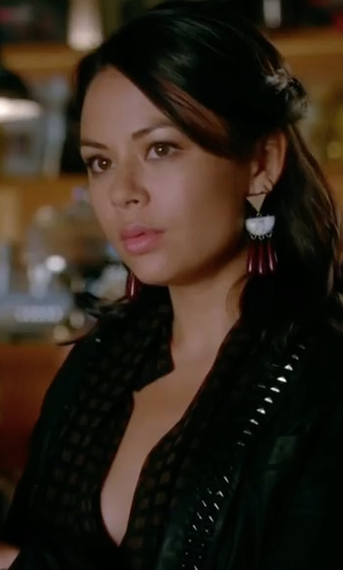 Janel Parrish with Elie Tahari Lumina Embellished Merino Cropped Cardigan in Pretty Little Liars