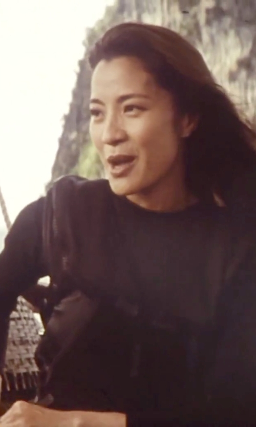 Michelle Yeoh with Ralph Lauren Cashmere Crewneck Sweater in Tomorrow Never Dies