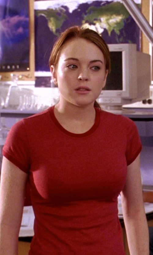 Lindsay Lohan with Bella Short-Sleeve Crew Neck T-Shirt in Mean Girls