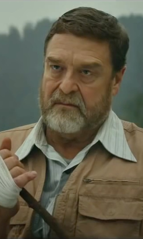 John Goodman with Tasso Elba Men's Classic-Fit White Striped Dress Shirt in Kong: Skull Island