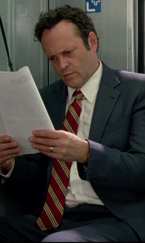 Vince Vaughn with David Donahue Silk Stripe Tie in Unfinished Business