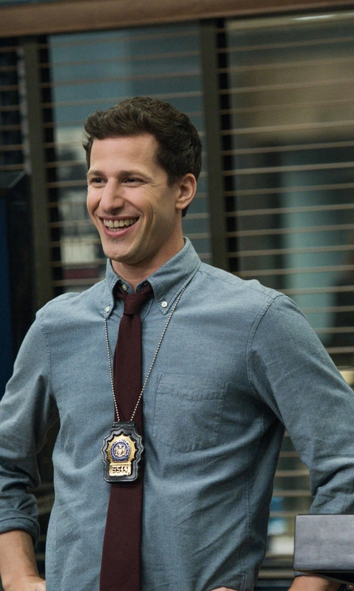 Andy Samberg with Steven Alan Single Needle Shirt in Brooklyn Nine-Nine