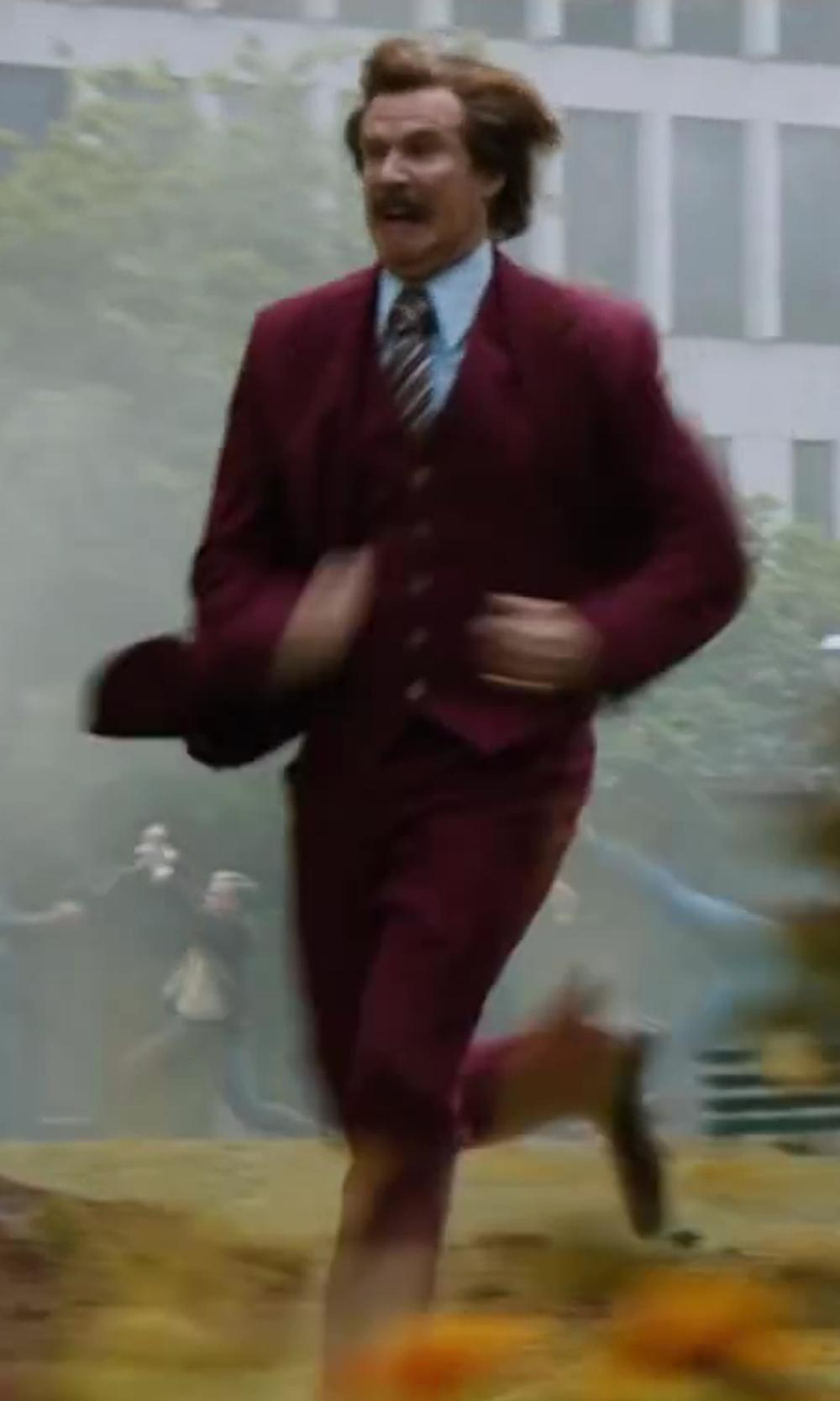 Will Ferrell with Stacy Adams Men's Mart Vested 3 Piece Suit in Anchorman 2: The Legend Continues