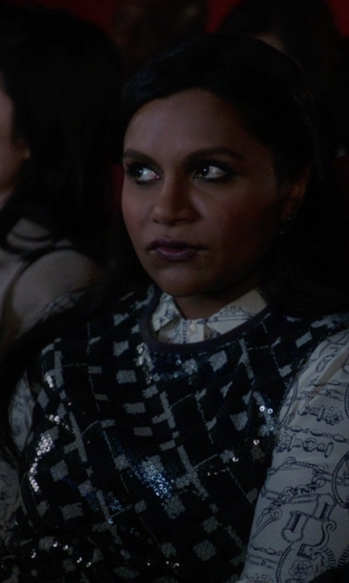 Mindy Kaling with Tory Burch Key Print Blouse Dress in The Mindy Project