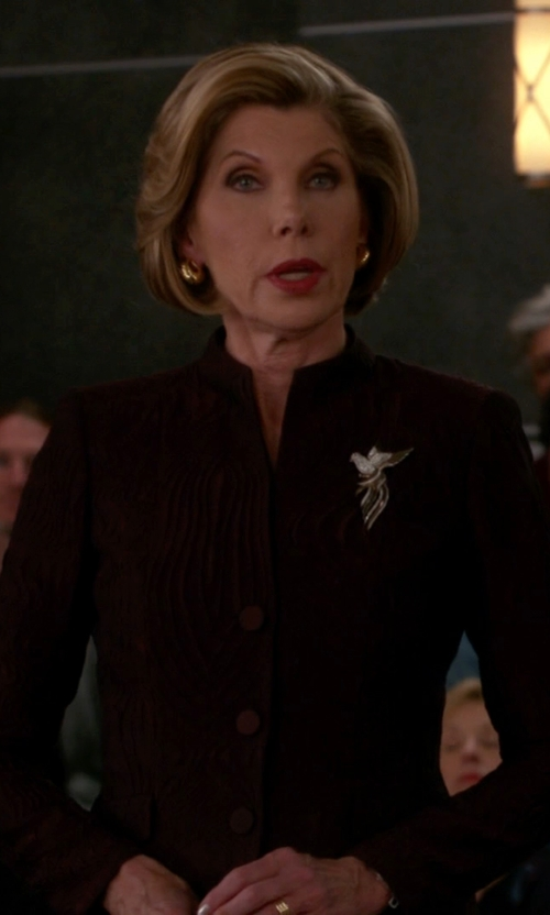 Christine Baranski with Lafayette 148 New York Andy Scroll Jacquard Jacket in The Good Wife