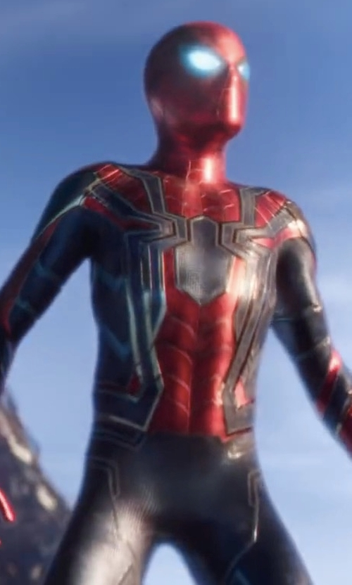 Tom Holland with Rubie's Costume Marvel Universe Adult Deluxe Spiderman Costume in Avengers: Infinity War
