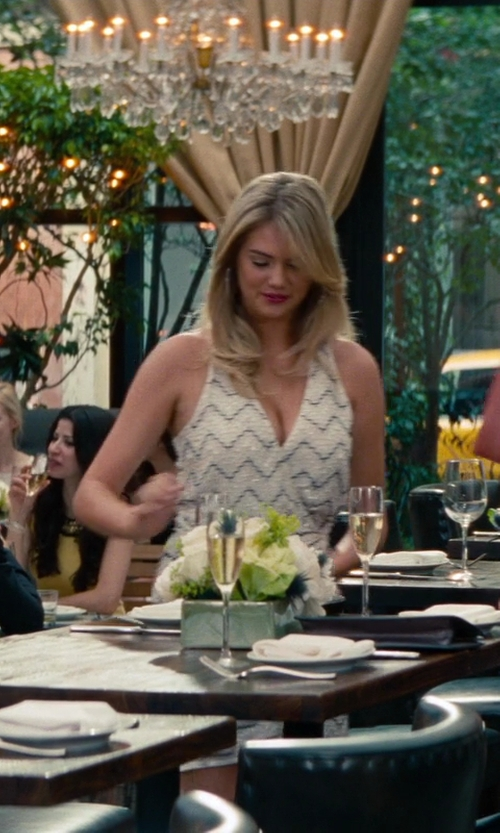 Kate Upton with Parker 'Duet' Beaded Silk Faux Wrap Dress in The Other Woman