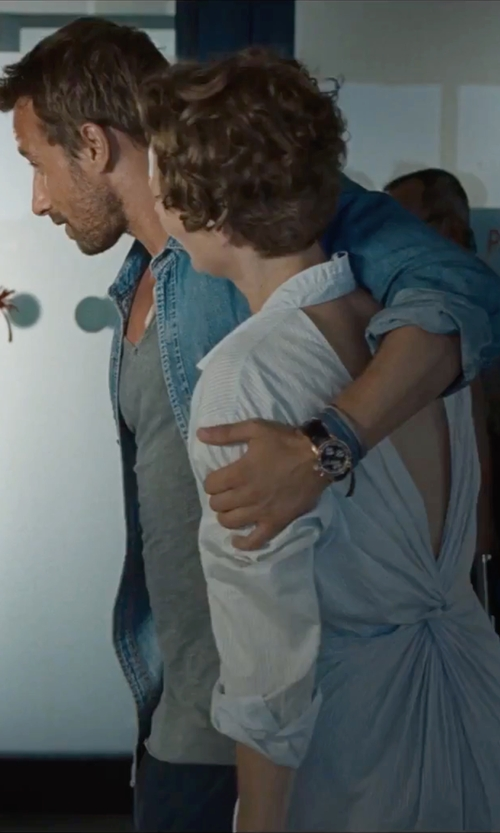 Matthias Schoenaerts with Fossil 'Townsman' Automatic Leather Strap Watch in A Bigger Splash