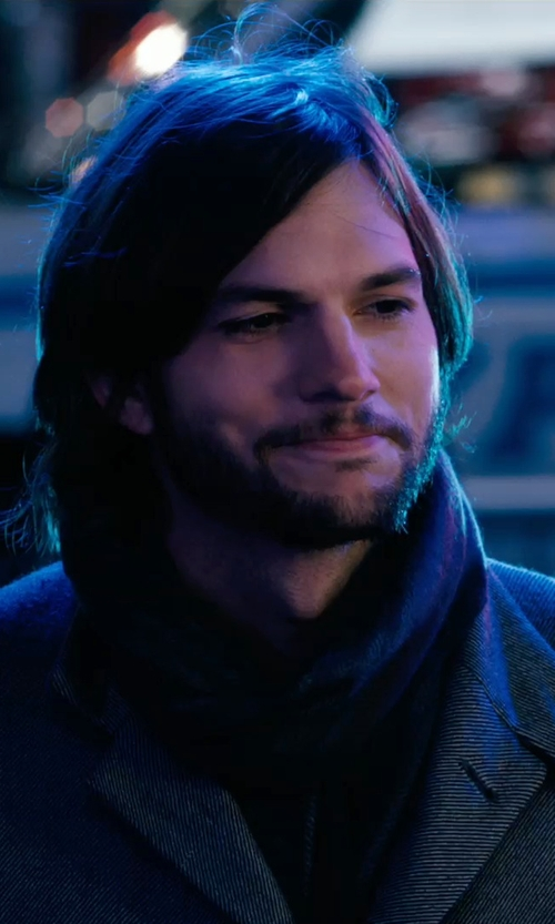 Ashton Kutcher with Emporio Armani Textured Scarf in New Year's Eve