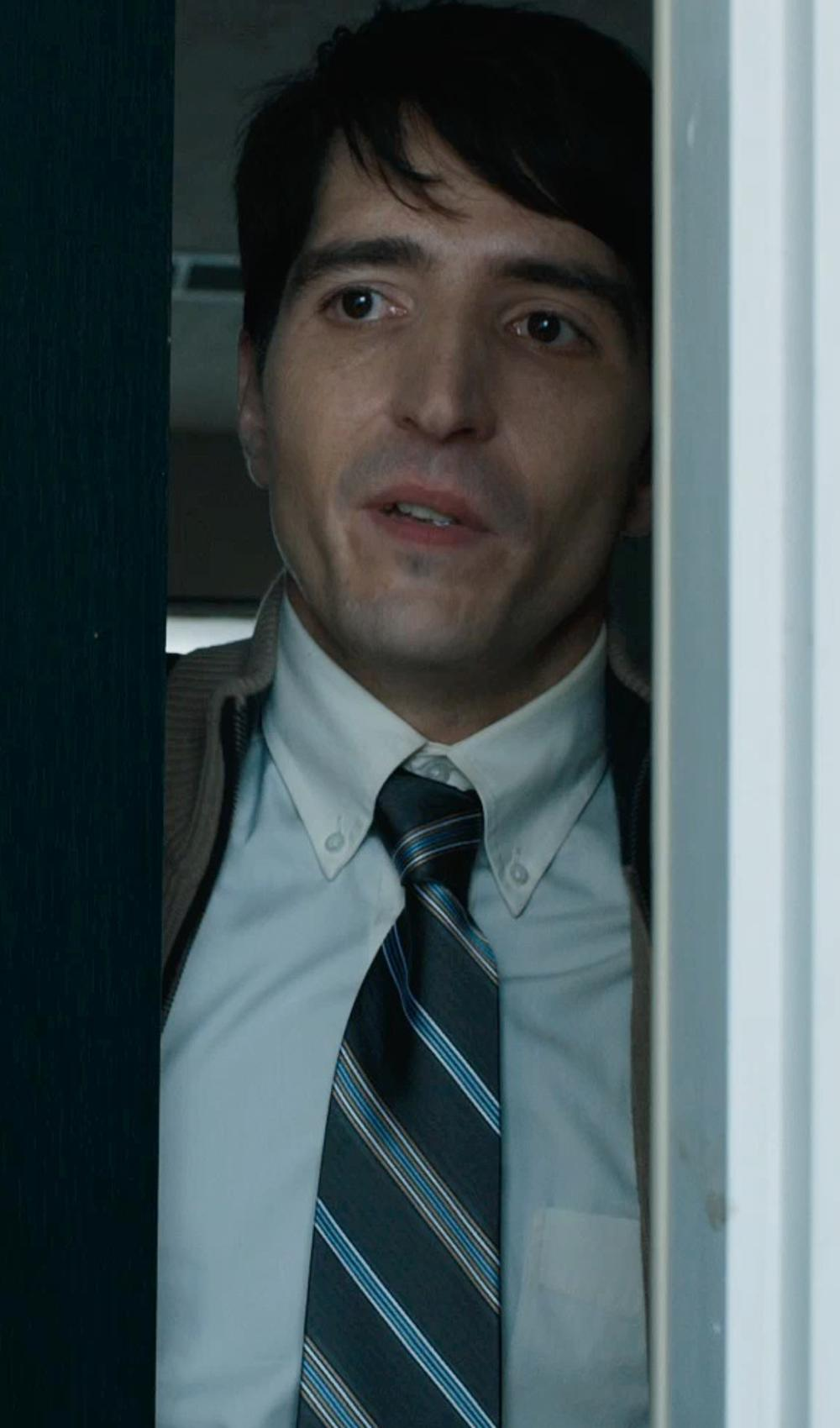 David Dastmalchian with Lands' End Men's Silk Wool Thin Stripe Necktie in Prisoners