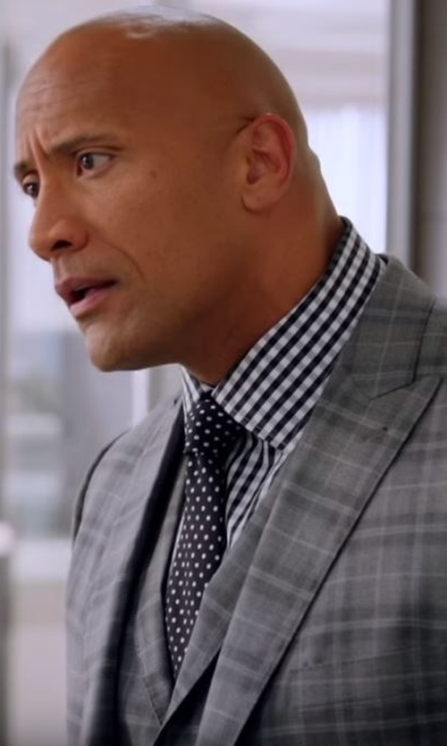 Dwayne Johnson with Tommy Hilfiger Men's Slim-Fit Grey Plaid Vested Suit in Ballers