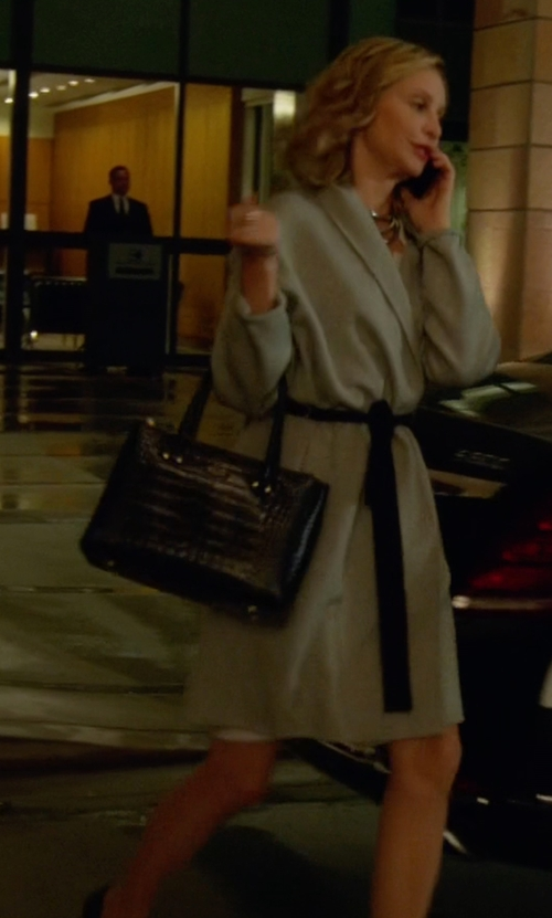 Calista Flockhart with Christian Lacroix Paris Croco Embossed Leather Tote Bag in Supergirl