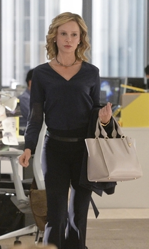 Calista Flockhart with Coach Crosby Colorblock Leather Convertible Tote Bag in Supergirl