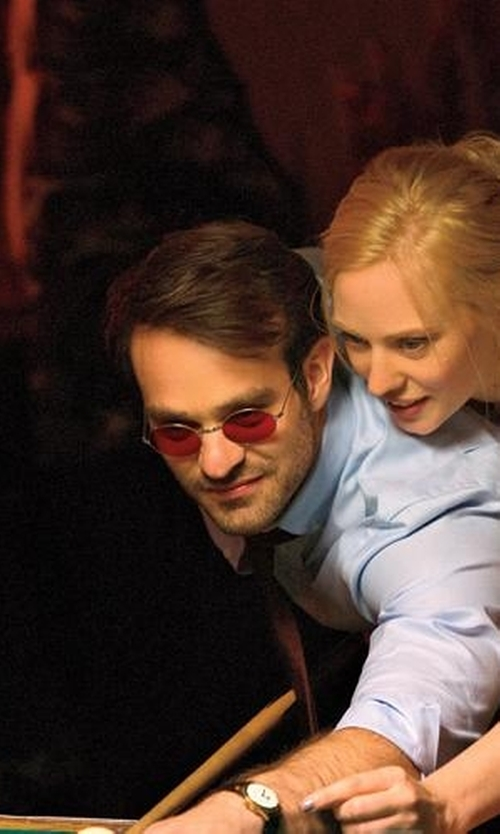 Charlie Cox with Stephanie Maslansky (Costume Designer) Custom Made Red Lenses Round Sunglasses in Daredevil