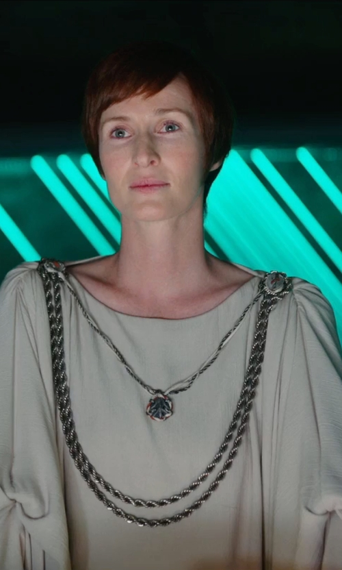 Genevieve O'Reilly with Alexander McQueen Cashmere Tunic Knit Dress in Rogue One: A Star Wars Story
