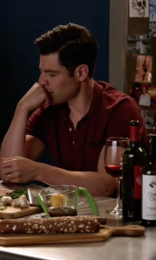 Max Greenfield with Vince Short-Sleeve Slub Polo Shirt in New Girl