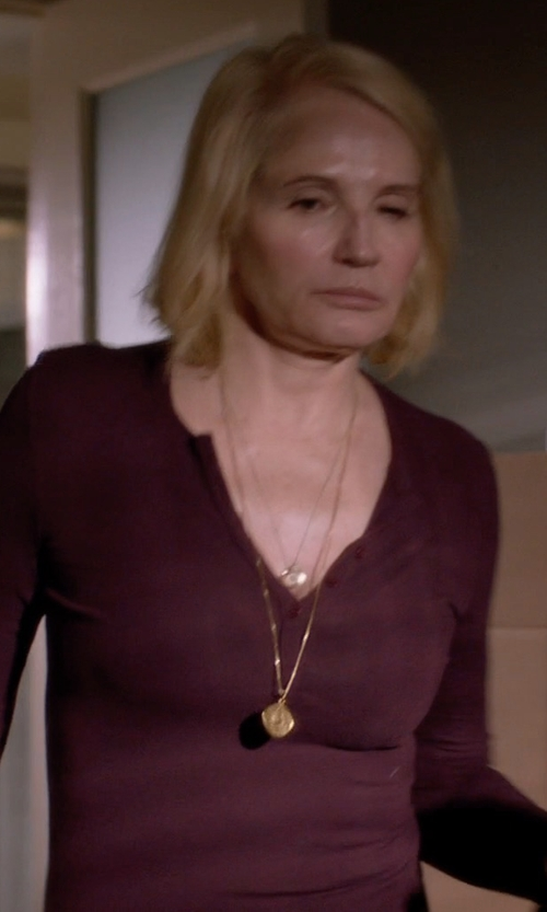 Ellen Barkin with Alternative Apparel Overtime Eco-Vertigrain Henley Shirt in Animal Kingdom