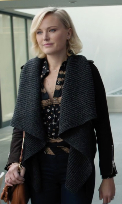 Malin Akerman with Bagatelle Ruffled Front-Drape Mixed Media Leather Jacket in Billions
