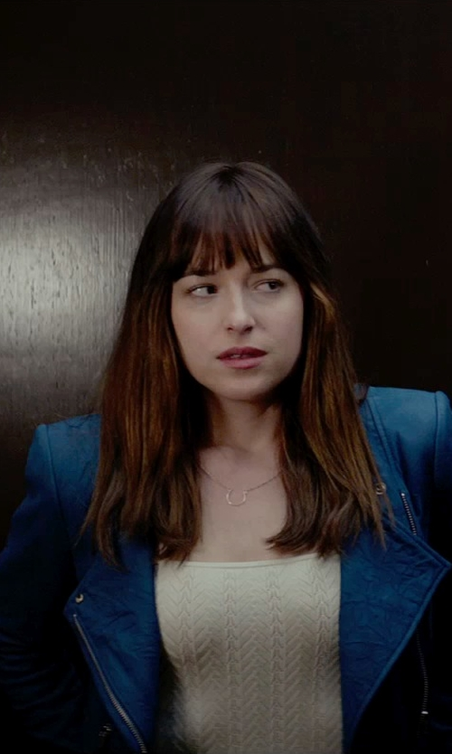 Dakota Johnson with Theyskens Theory Jarde Nasher Blue Leather Jacket in Fifty Shades of Grey