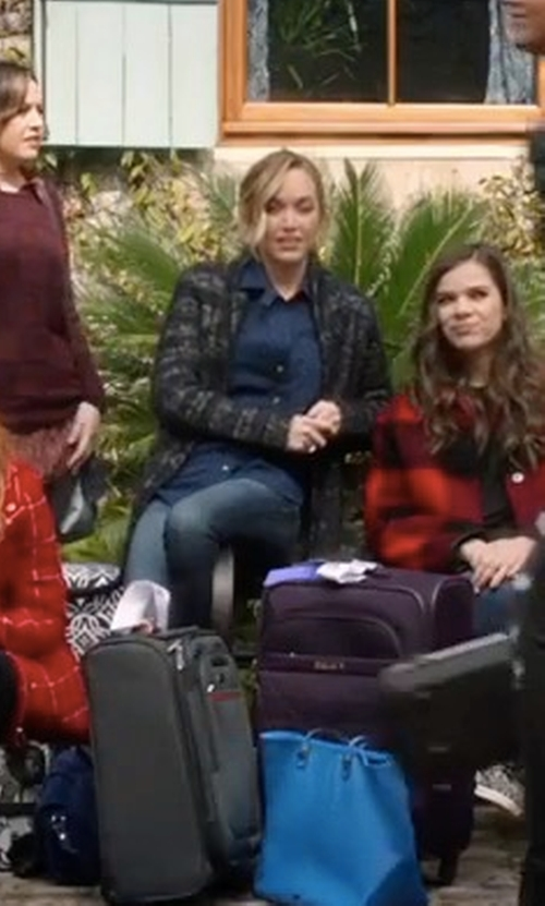 Kelley Jakle with Michael Stars Ladder Stitch Cardigan in Pitch Perfect 3