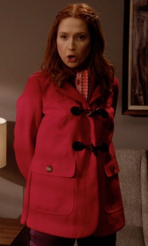 Ellie Kemper with Jessica Simpson Zip Front Toggle Coat with Hood In Melton Touch in Unbreakable Kimmy Schmidt