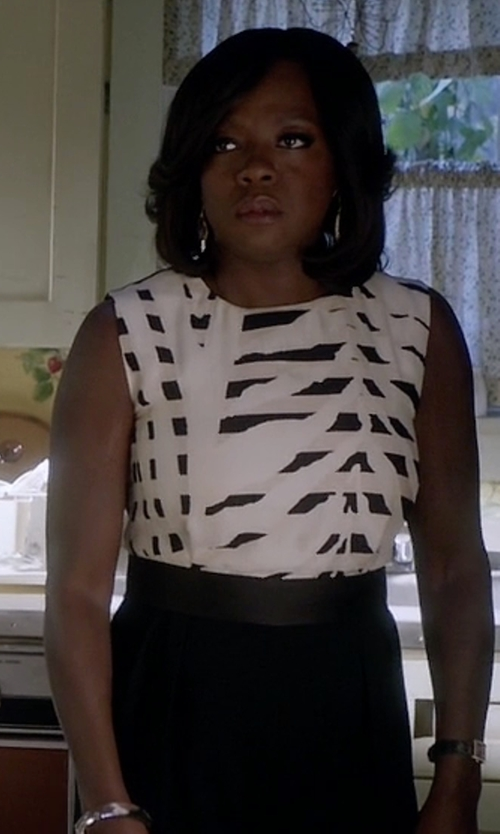 Viola Davis with Giambattista Valli X 7 For All Mankind Printed Denim Top in How To Get Away With Murder