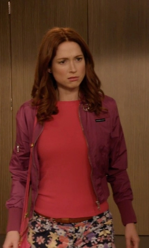 Ellie Kemper with Members Only Iris Classic Nylon Bomber Jacket in Unbreakable Kimmy Schmidt