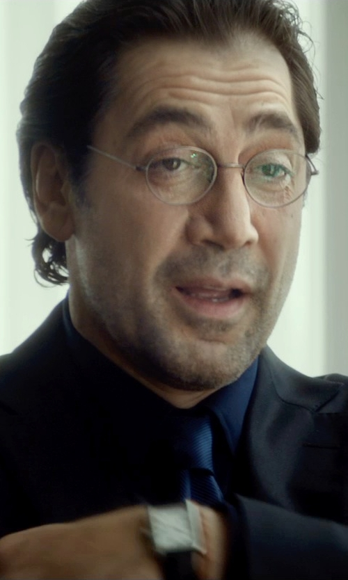 Javier Bardem with Hugo Boss Rectangular Leather Strap Watch in The Gunman
