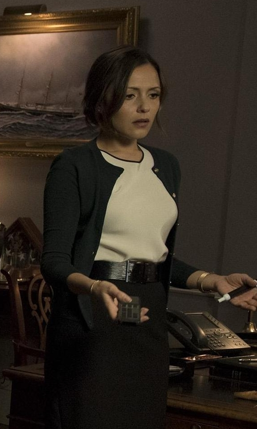 Italia Ricci with Milly Hexagon-Stitch Crewneck Cardigan in Designated Survivor