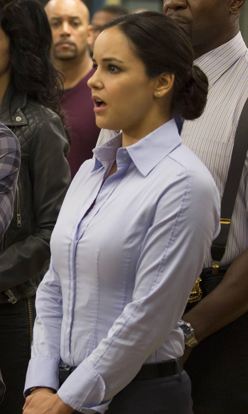 Melissa Fumero with Hugo Boss Bashina Classic Blouse in Brooklyn Nine-Nine