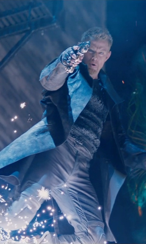 Channing Tatum with Forzieri Men's Black Italian Genuine Leather Coat in Jupiter Ascending