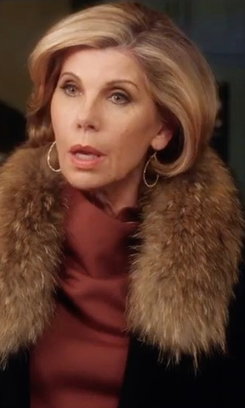 Christine Baranski with Kate Spade On Pointe Faux Fur Collar Coat in A Bad Moms Christmas