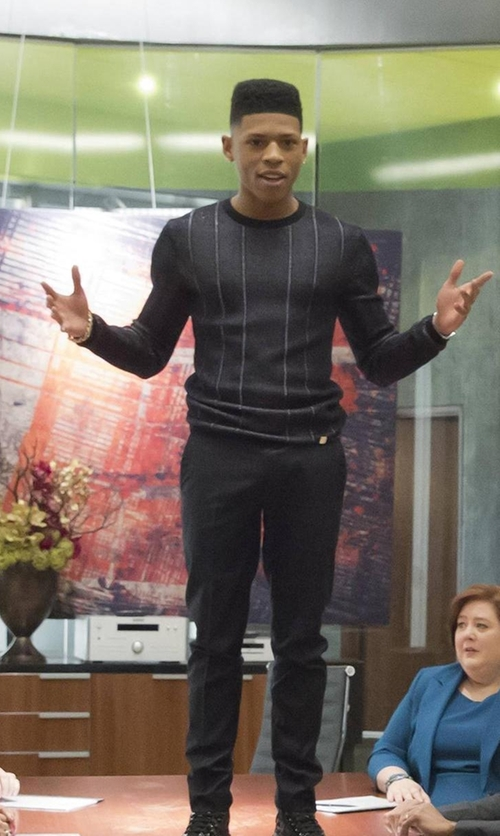 Bryshere Y. Gray with Armani Collezioni Striped Sweater in Empire