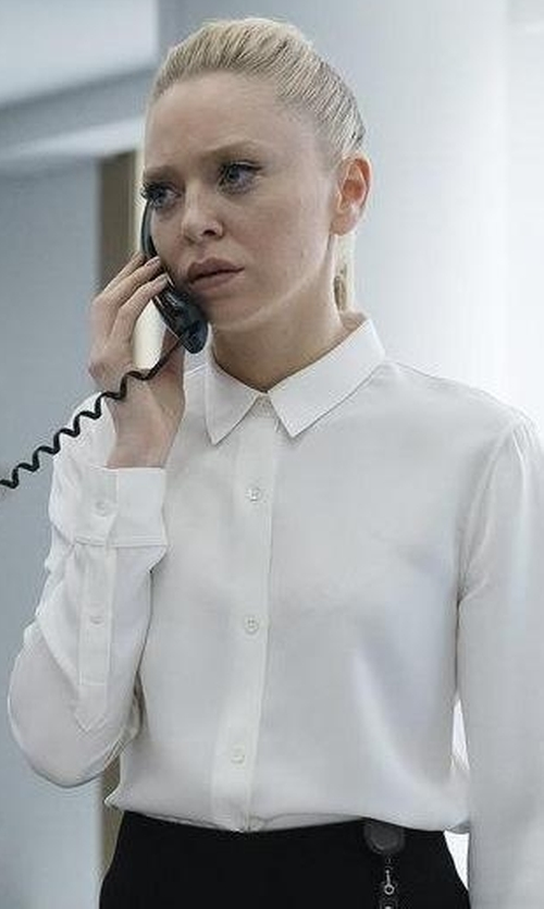 Portia Doubleday with Eileen Fisher High-Low Button-Front Shirt in Mr. Robot