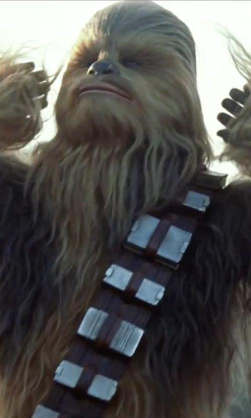 Peter Mayhew with Michael Kaplan (Costume Designer) Custom Made Chewbacca Costume in Star Wars: The Force Awakens