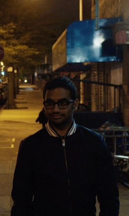 Aziz Ansari with Gant Rugger Nylon Varsity Jacket in Master of None